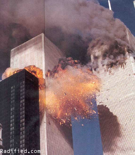 September 11, 2001 - 9:06AM, Hijacked United flight 175 plane explodes upon hitting #2 World Trade Center Tower