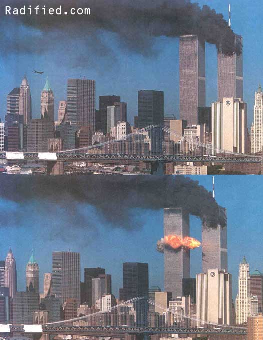 September 11, 2001. 9:06AM, Hijacked United flight 175 plane approaches & hits #2 World Trade Center Tower
