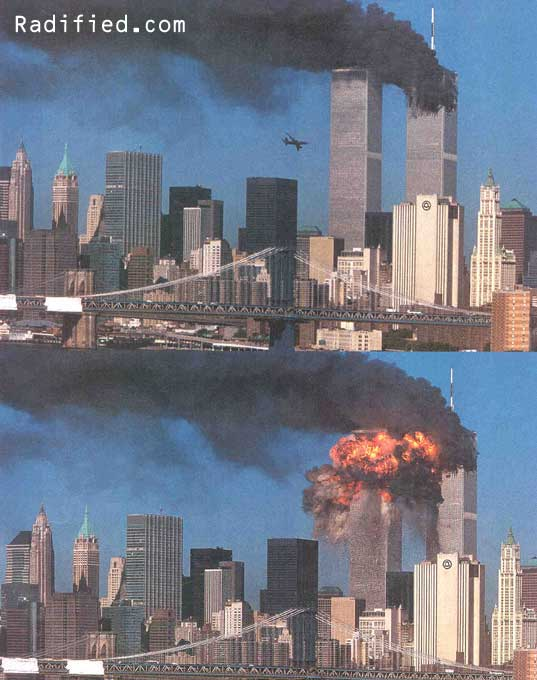 September 11, 2001.9:06AM, Hijacked United flight 175 plane approaches & hits #2 World Trade Center Tower
