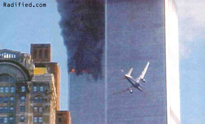 September 11, 2001. 9:06AM. Hijacked United flight 175 plane about to slam into #2 South World Trade Center Tower.