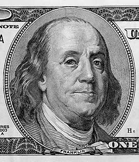Ben Franklin on the One hundred dollar bill - aka MONEY