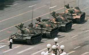 Tank Man - Protesting in Tiananmen Square, Beijing, China (where civil disobedience is lethal) 1989