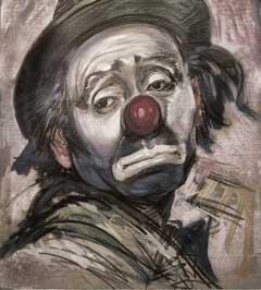 Sad clown, experiencing June Gloom