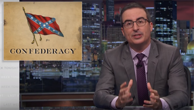 John Oliver says that the Confederacy was primarily about slavery