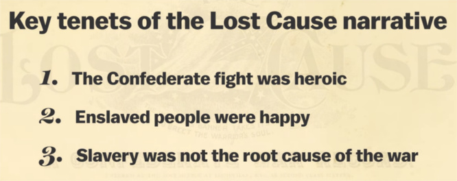 The Lost Cause narrative says that SLAVERY was not the root cause of the civil war