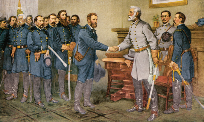 Robert E Lee surrenders to Ulysses S Grant Appomattox Court House April 9, 1865